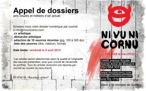 Appel de dossiers-Ni vu ni cornu-2013