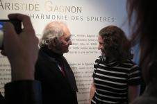 Aristide Gagnon et moi lors du vernissage de sa rétrospective, le 6 avril 2016. Mandat: commissaire d'exposition. Crédit photo: Francine Noël