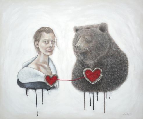 """Le cœur à l'état sauvage par Caroline Houde Techniques mixtes sur toile, 36"""" x 30"""", 2014"""