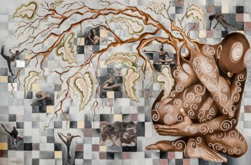 Hélène Larouche,Genèse,collage,aluminium et huile sur toile,72x48,2014