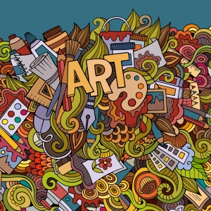 Art hand lettering and doodles elements background