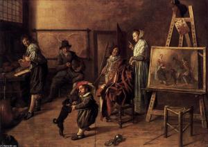 L'atelier du peintre par Jan Miense Molenaer, 1631, Berlin