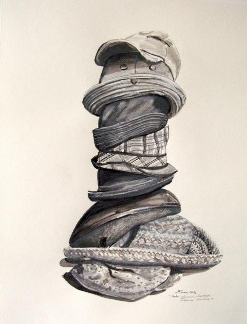 Dépanne-machine porte plusieurs chapeaux (comme beaucoup d'artistes), 2013 Copyright© 2013-2014 Hélène Matte
