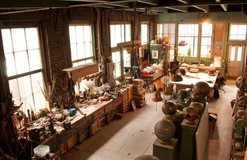 Vue de l'atelier de l'artiste Aristide Gagnon.  Crédit photo: Isabelle Houde Photographe