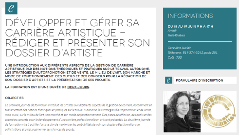 developper-gerer-sa-carriere-artistique-rediger-presenter-dossier-artistique-formation-culture-mauricie-caroline-houde